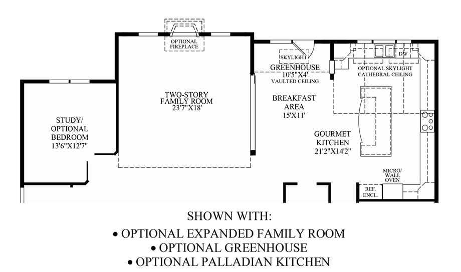 Optional Expanded Family Room/Greenhouse/Palladian Kitchen Floor Plan
