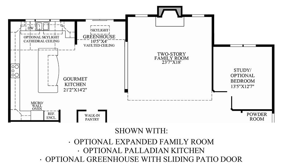 Optional Expanded Family Room, Palladian Kitchen & Greenhouse w/ Sliding Patio Door Floor Plan