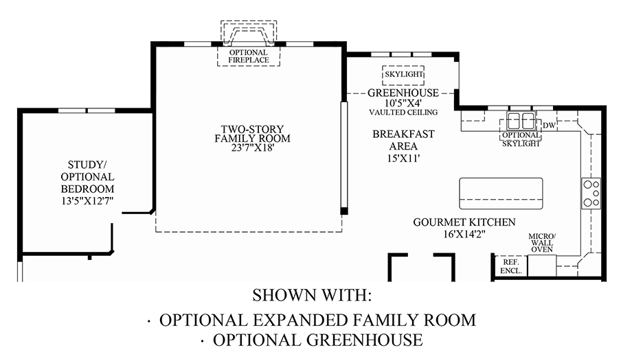Optional Expanded Family Room & Greenhouse Floor Plan