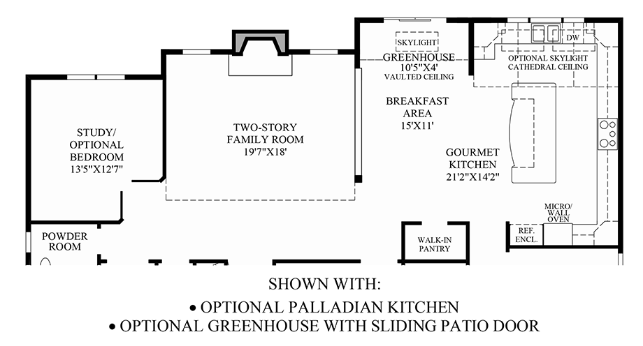Optional Palladian Kitchen/Greenhouse Floor Plan