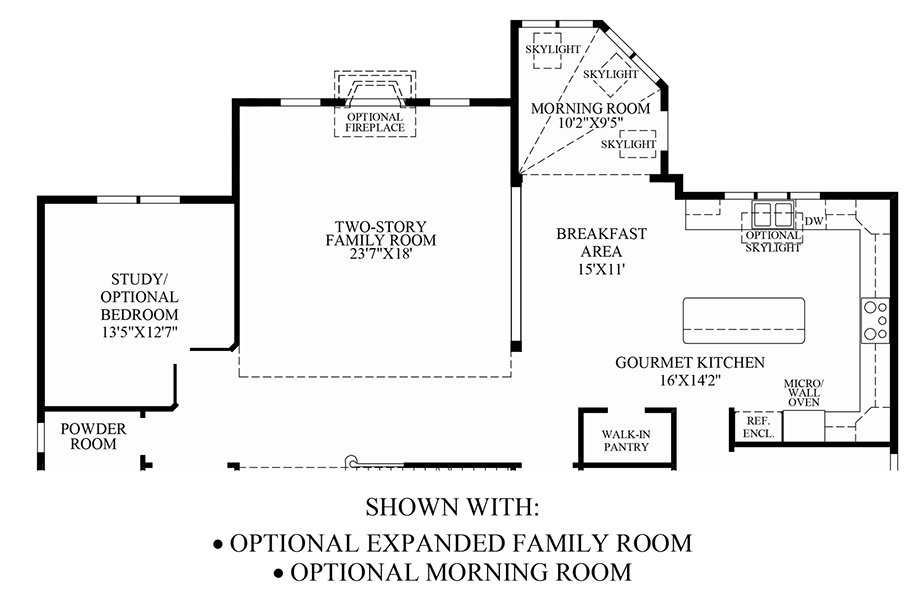 Optional Expanded Family Room & Morning Room Floor Plan