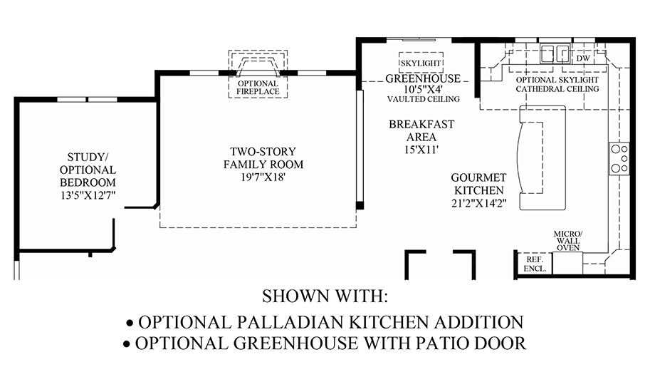 Optional Palladian Kitchen Addition & Greenhouse w/ Patio Door Floor Plan