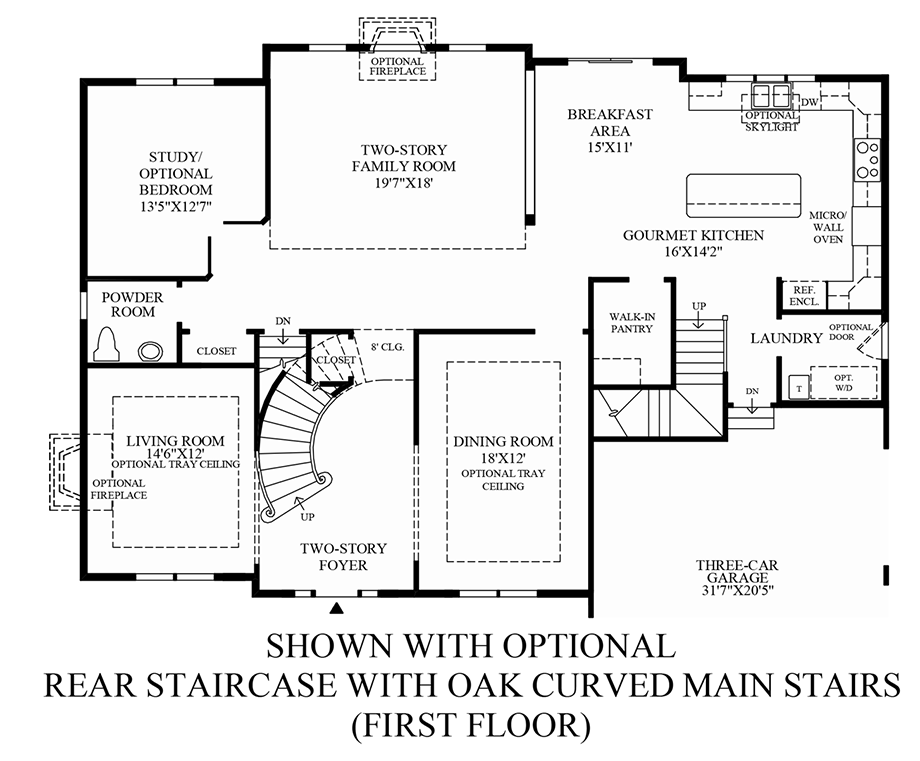 Optional Rear Staircase w/ Oak Curved Main Stairs (1st Floor) Floor Plan