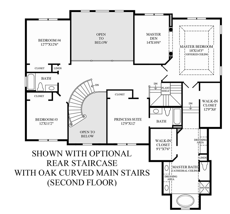Optional Rear Staircase w/ Oak Curved Main Stairs (2nd Floor) Floor Plan