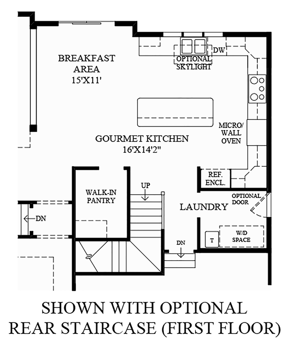 Optional Rear Staircase (1st Floor) Floor Plan