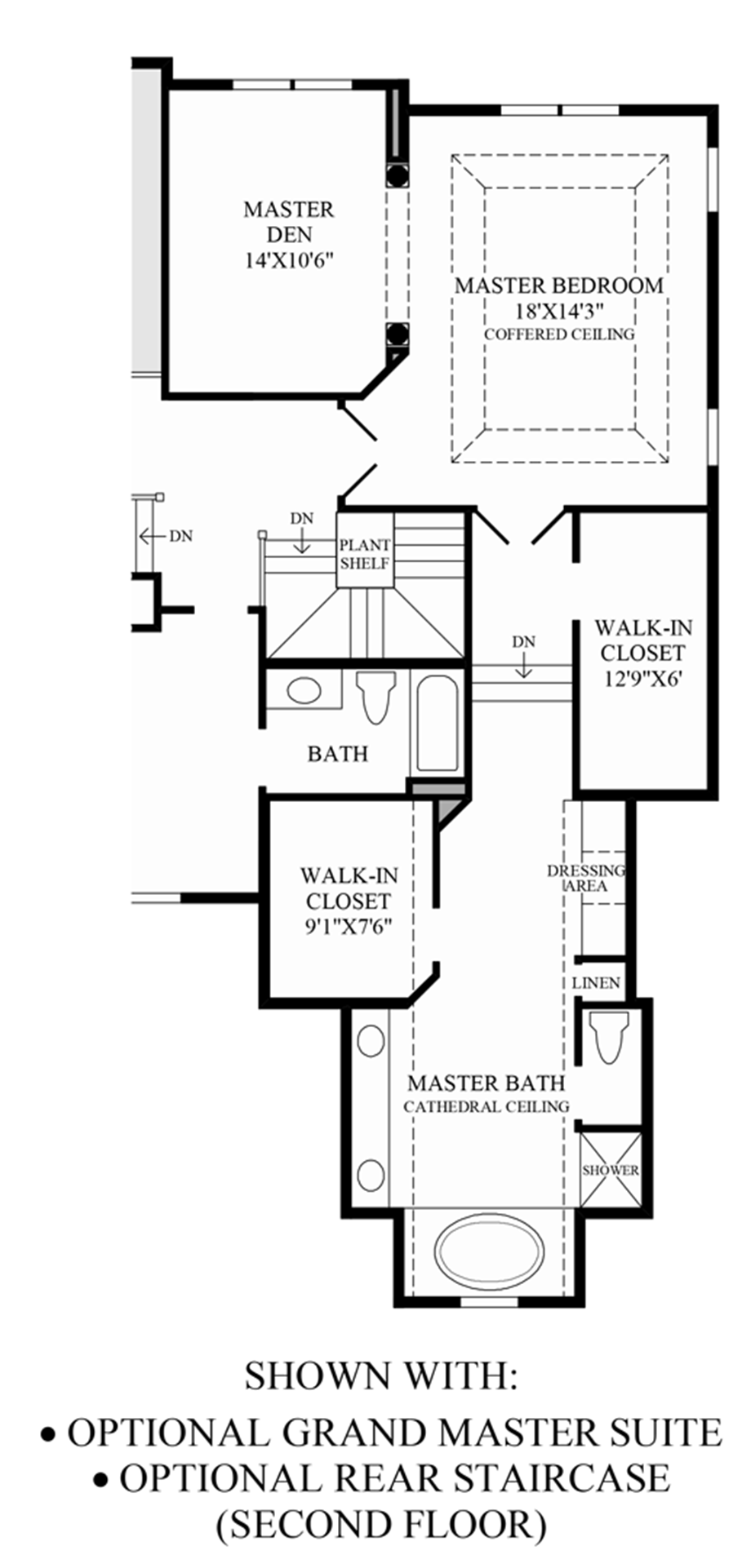 Optional Rear Staircase (2nd Floor) & Grand Master Suite Floor Plan