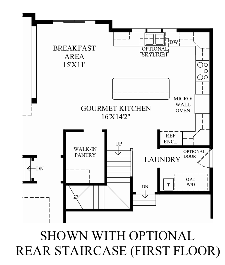 Optional Rear Staircase (1st Floor) Floor Plan