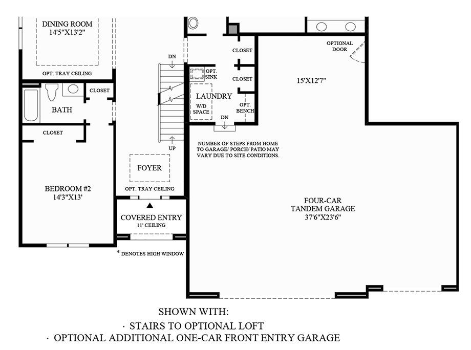 Stairs to Optional Loft & Optional Additional One-Car Front Entry Garage Floor Plan