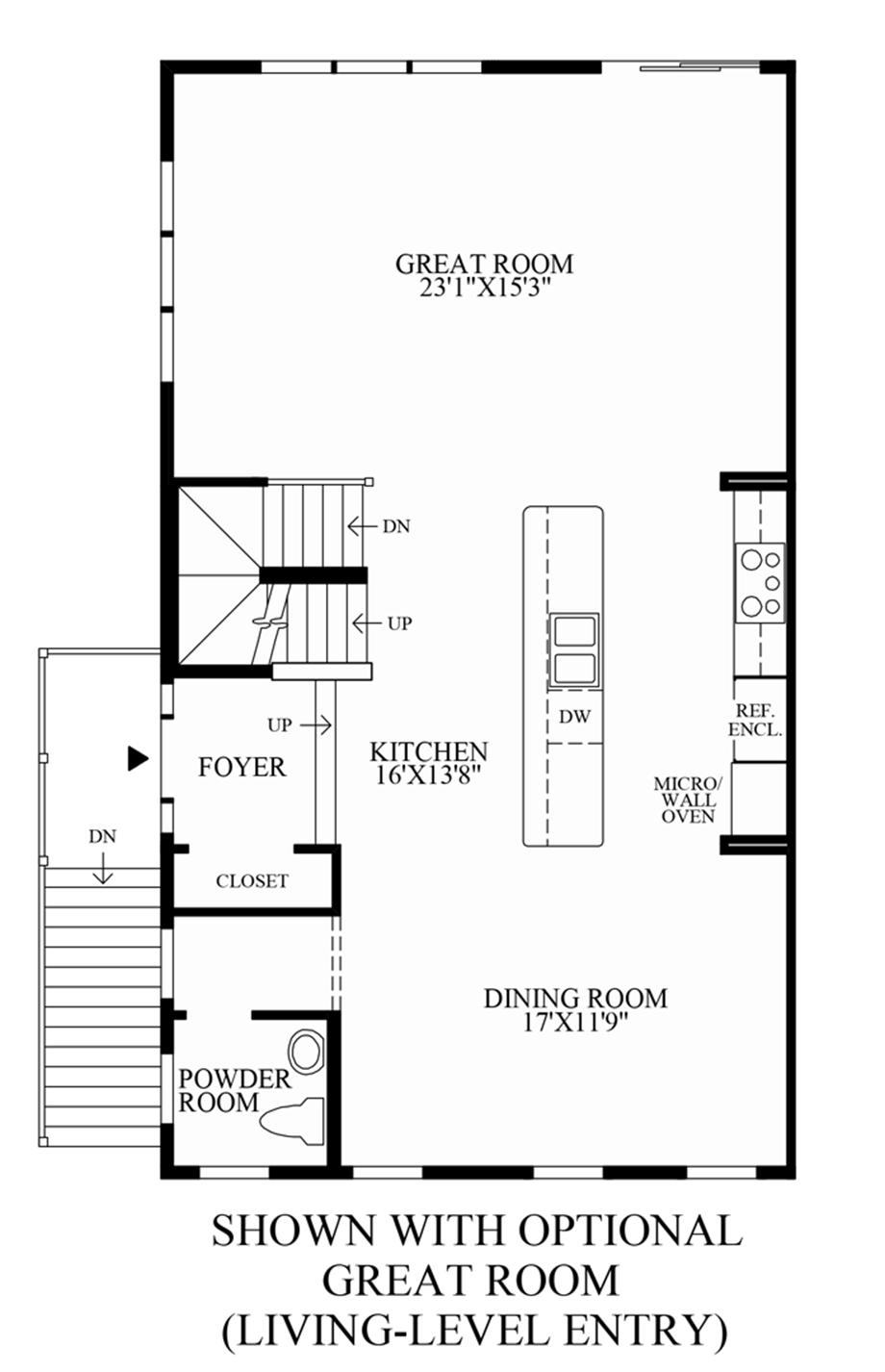 Optional Great Room (Living Level Entry) Floor Plan