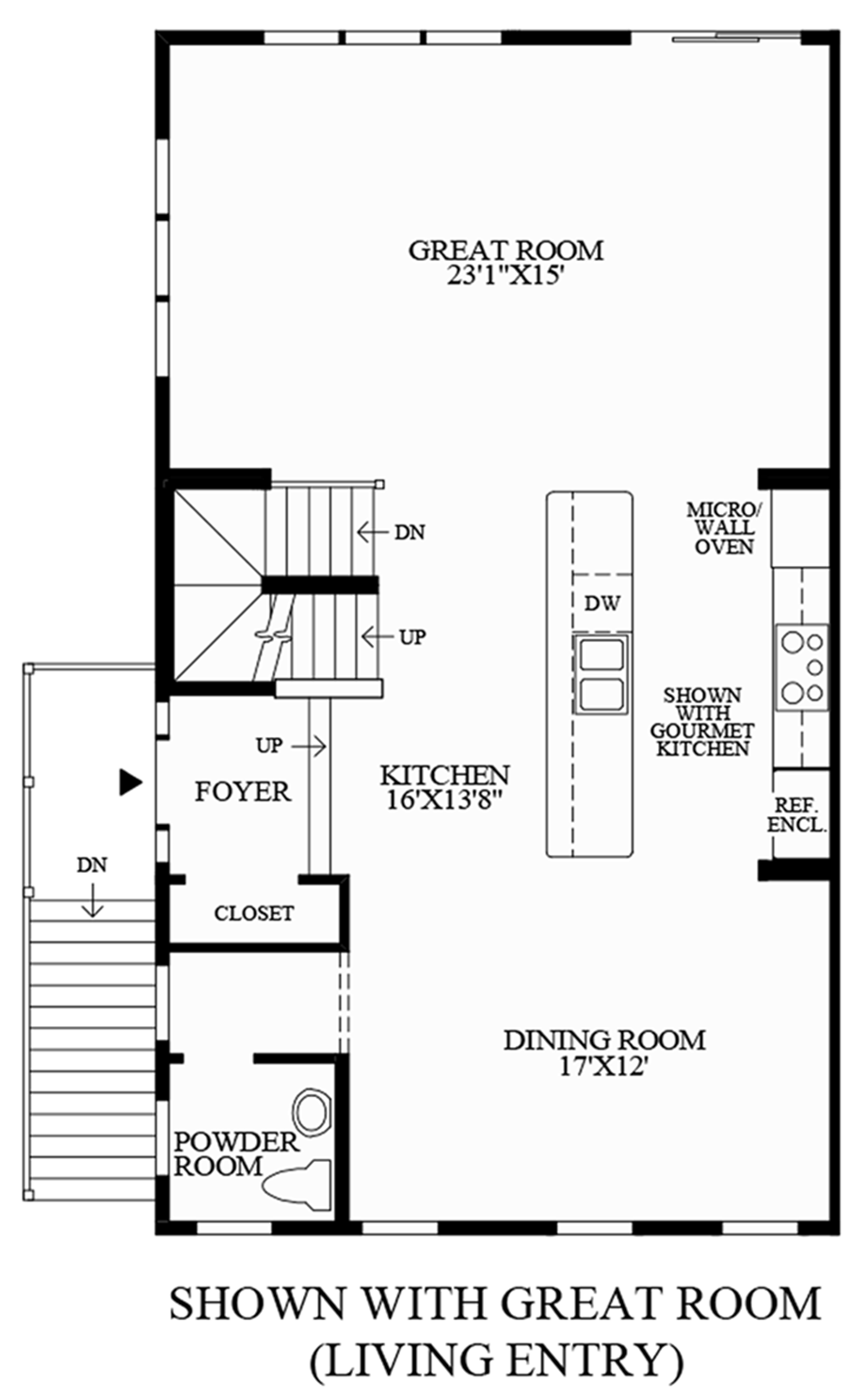 Optional Great Room (Living Level Entry) Floor Plan