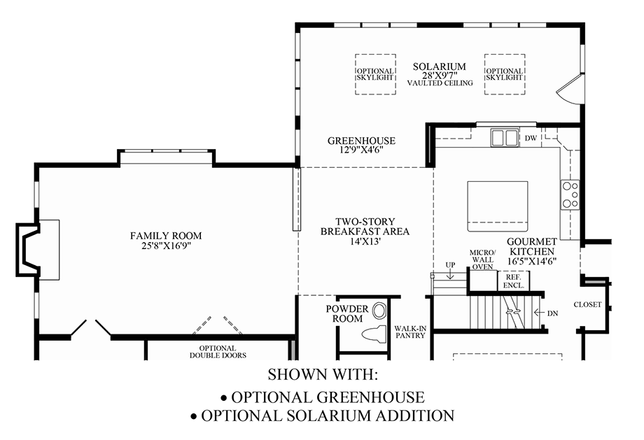 Optional Greenhouse/Solarium Addition Floor Plan