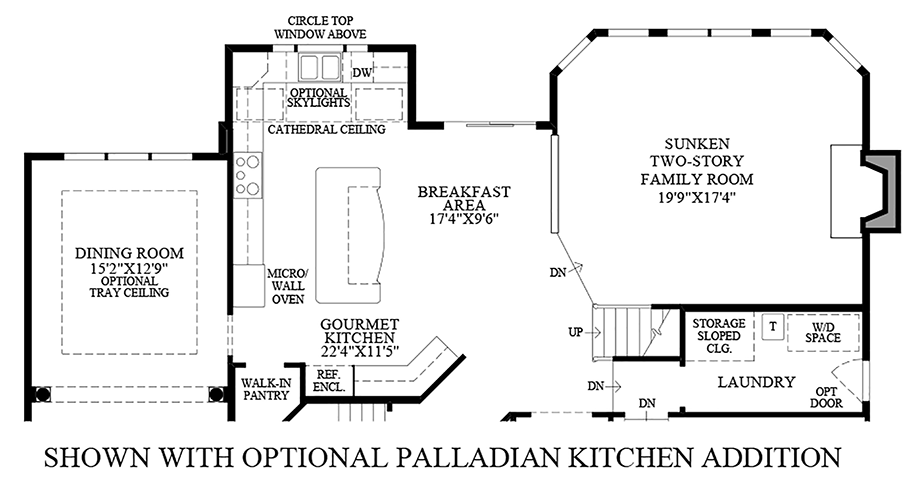Optional Palladian Kitchen Addition Floor Plan