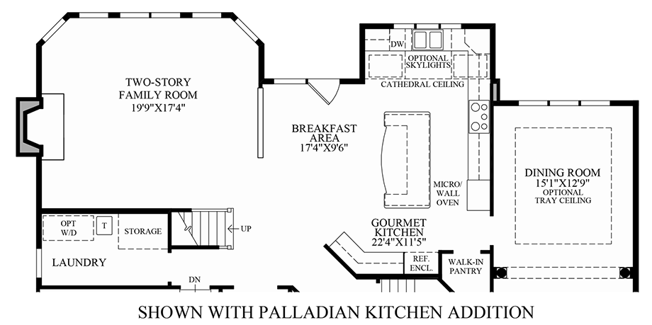 Optional palladian kitchen floor plan for Palladian style house plans