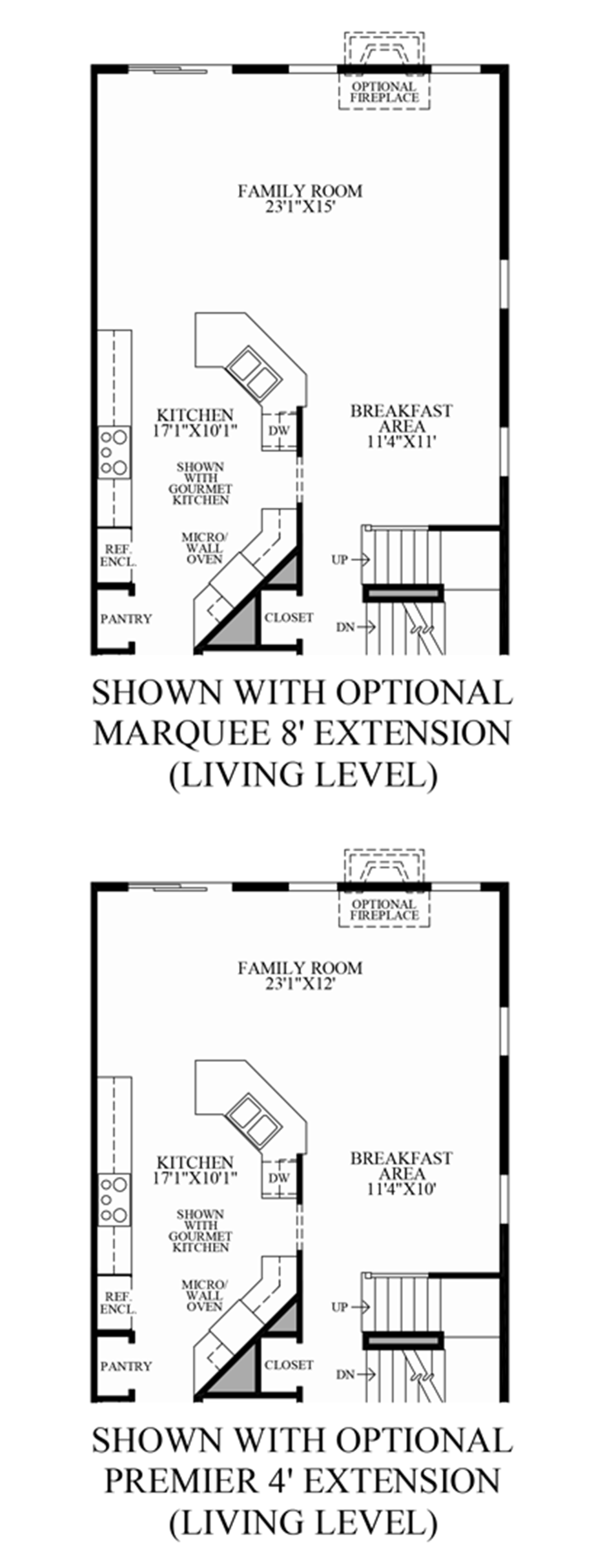 Optional Living Level Extensions Floor Plan