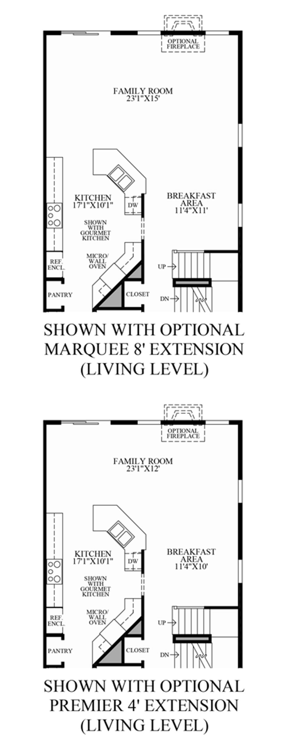 Optional Living Level Extensions Floor Plan