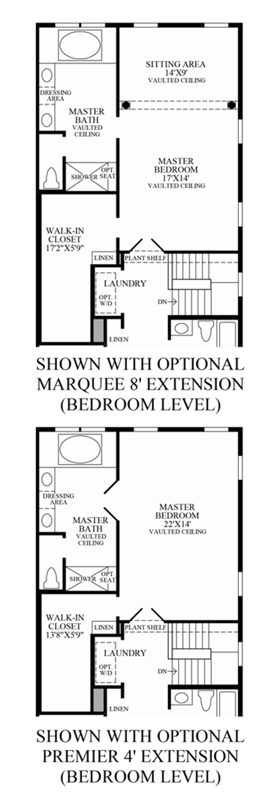 Optional Bedroom Level Extensions Floor Plan