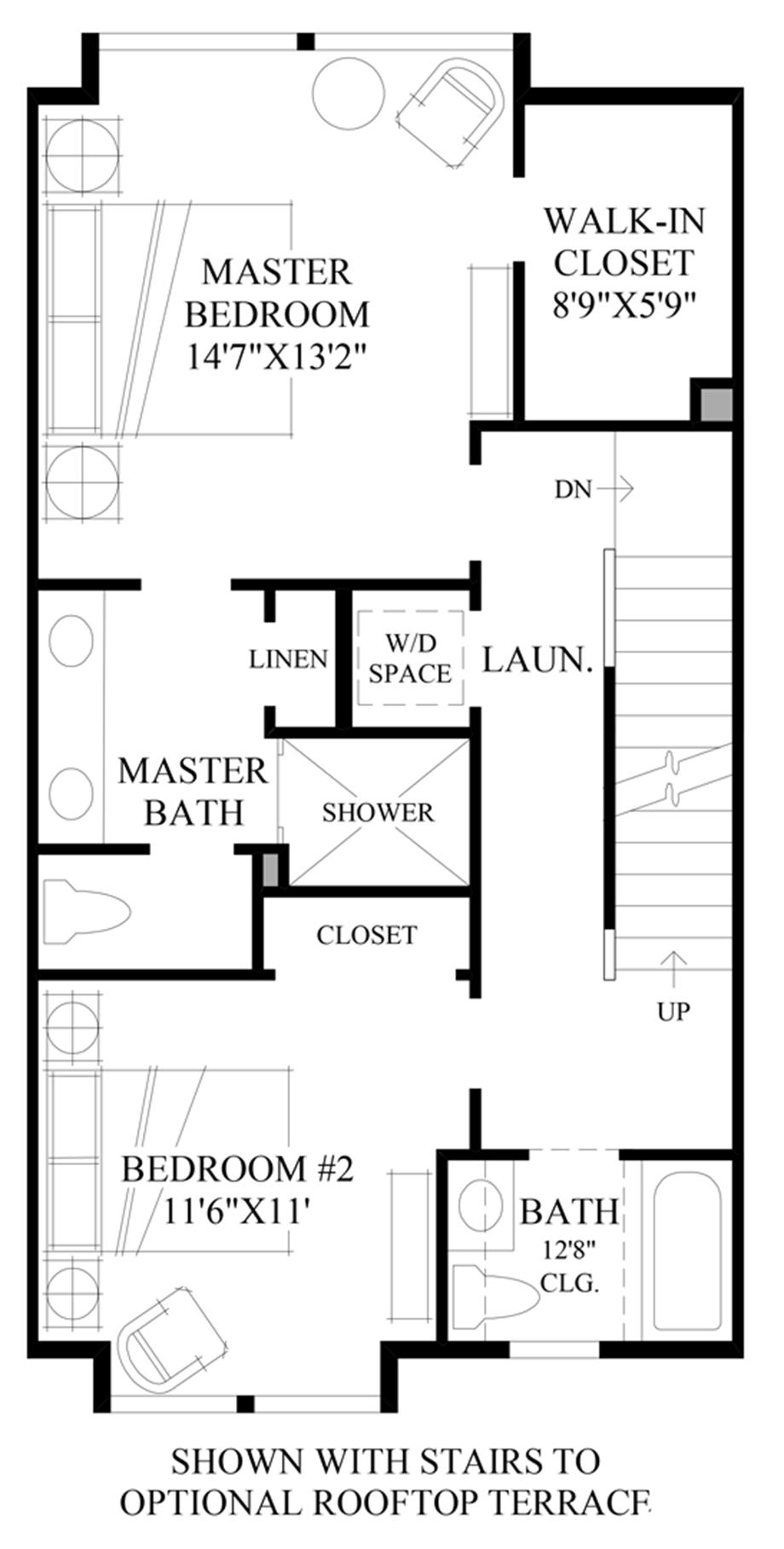 Optional Stairs to Rooftop Terrace Floor Plan