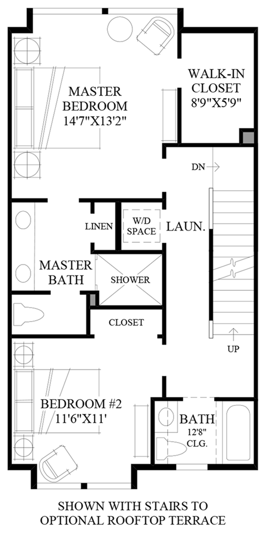 Stairs to Optional Rooftop Terrace Floor Plan