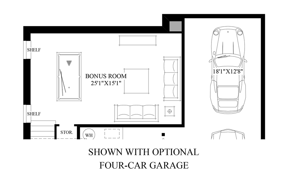 Optional 4-car Garage Floor Plan