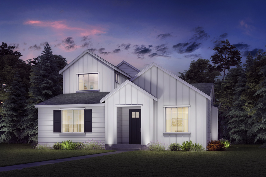 The lovely exterior of the Endeavor Farmhouse combines modern yet classic details