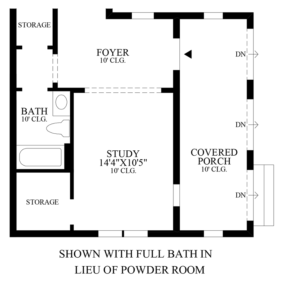 Optional Full Bath ILO Powder Room Floor Plan