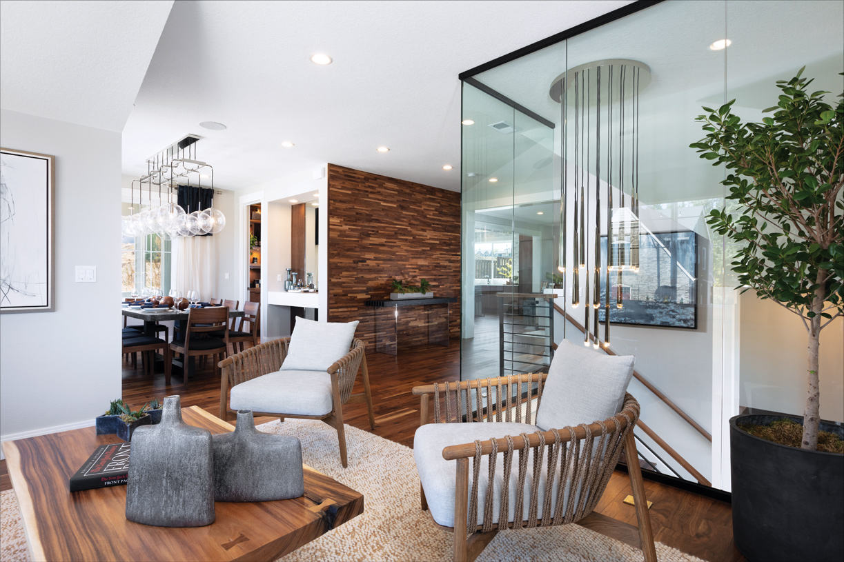 Formal living room with stunning glass wall