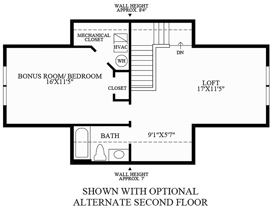 Optional Alternate Second Floor Floor Plan