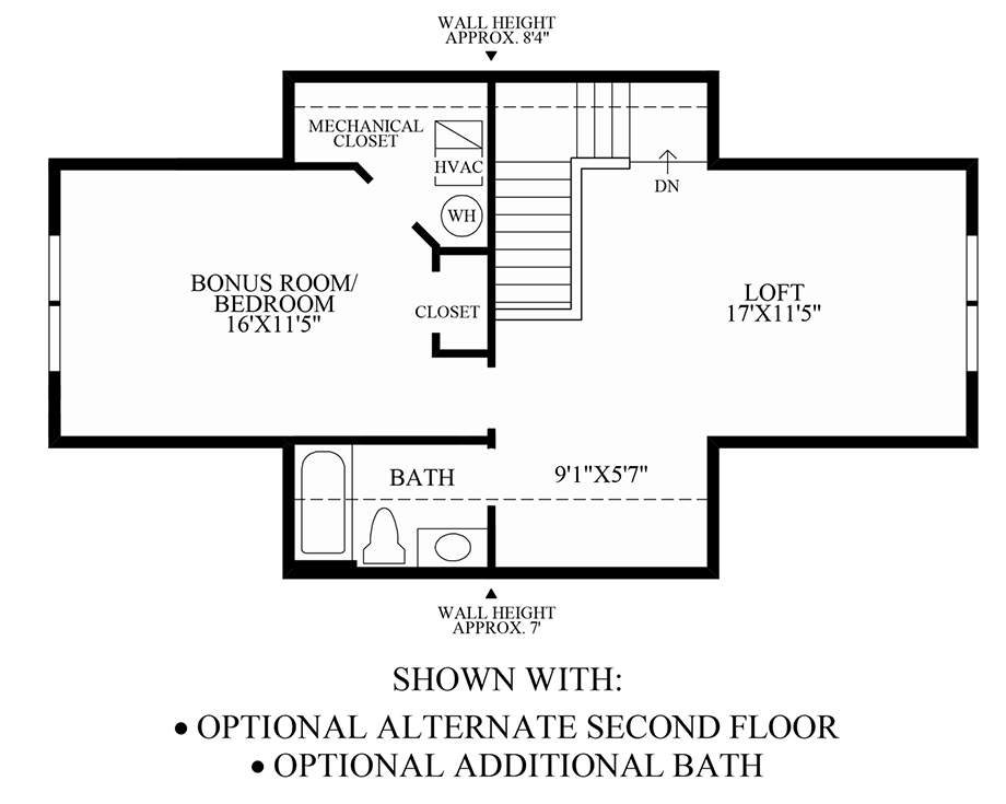 Optional Alternate 2nd Floor & Additional Bath Floor Plan