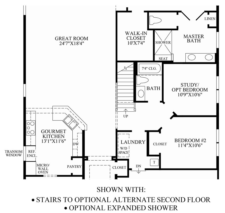 Optional Stairs/Expanded Shower Floor Plan