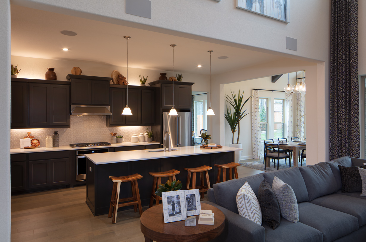 Well-appointed kitchen features a large center island