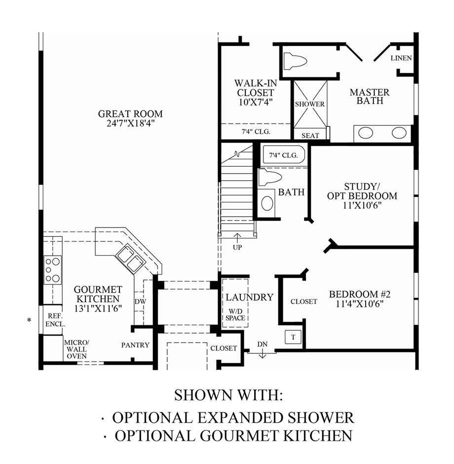 Optional Expanded Shower & Gourmet Kitchen Floor Plan