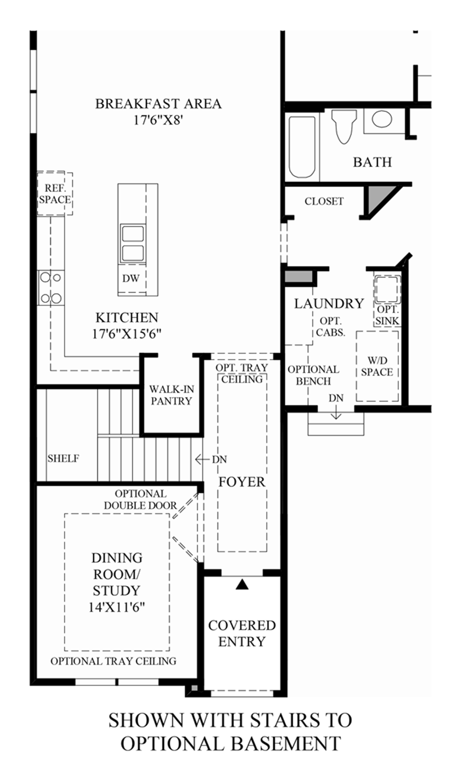 Stairs to Optional Basement Floor Plan