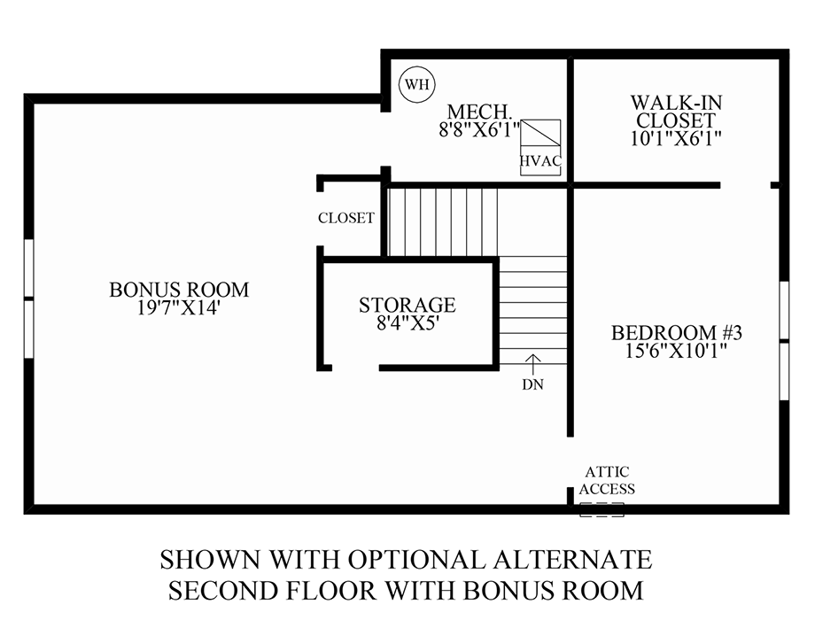 Optional Alternate 2nd Floor w/ Bonus Room Floor Plan