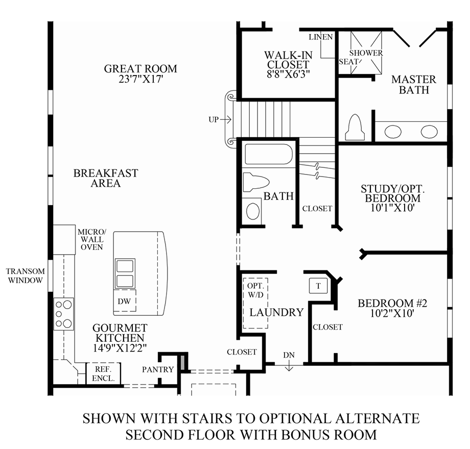 Optional Stairs to Alternate 2nd Floor w/ Bonus Room Floor Plan