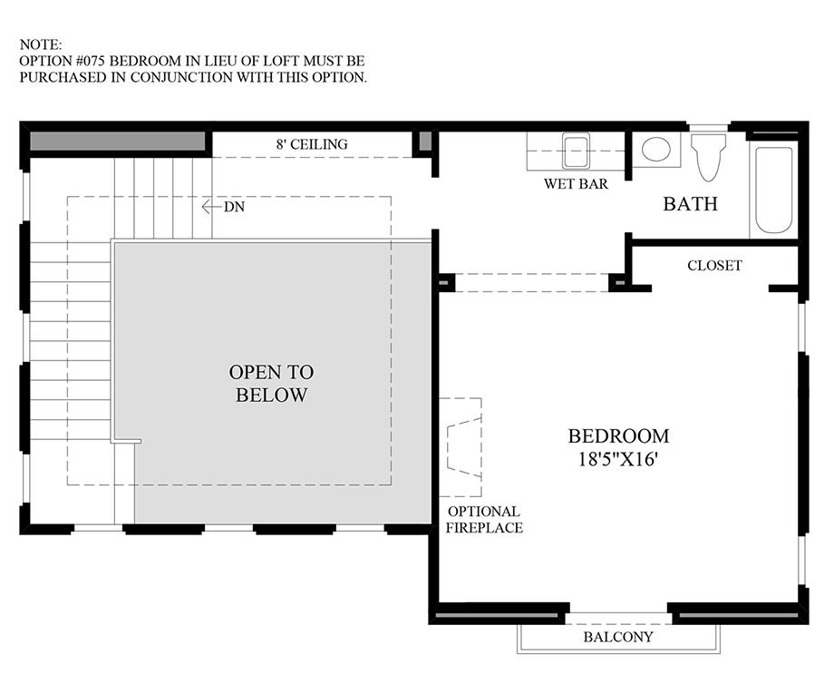 Optional Interior Wet Bar with Bedroom In Lieu of Loft