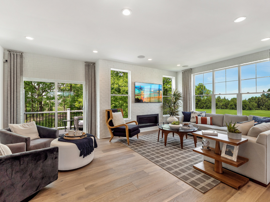 Alternate family room with great room option, shown with optional designer fireplace