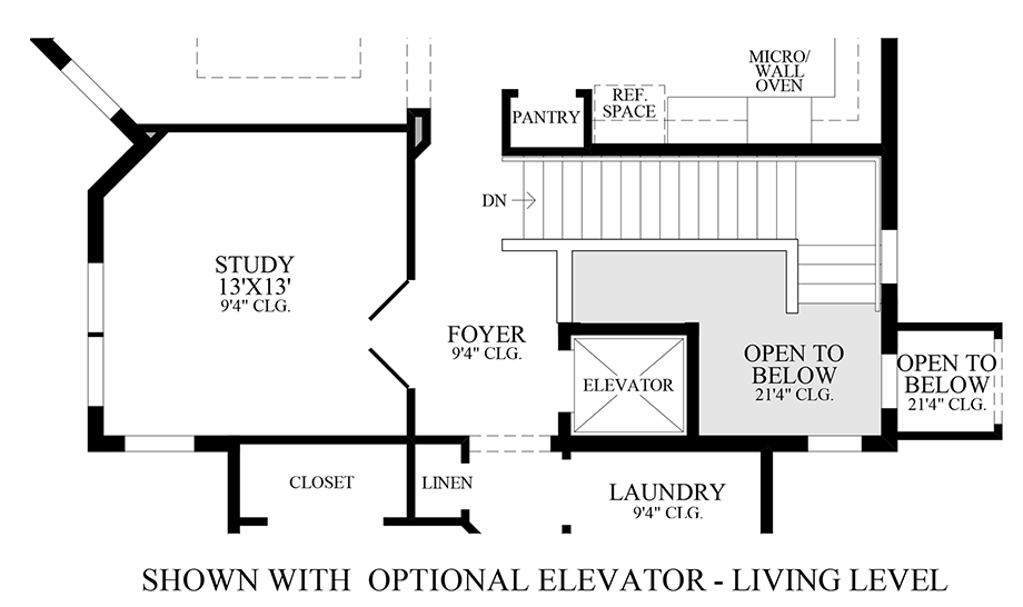 Optional Elevator - Living Level Floor Plan