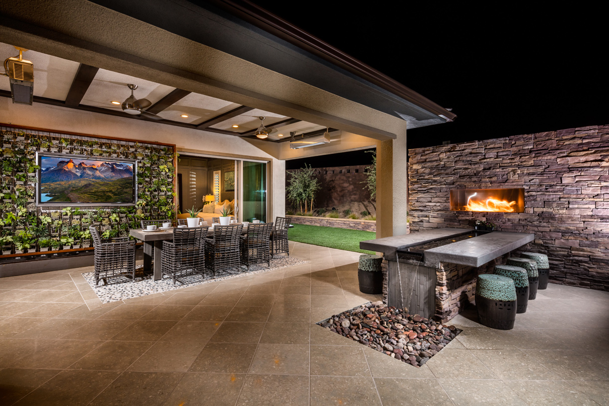 Beautiful outdoor living space with fireplace