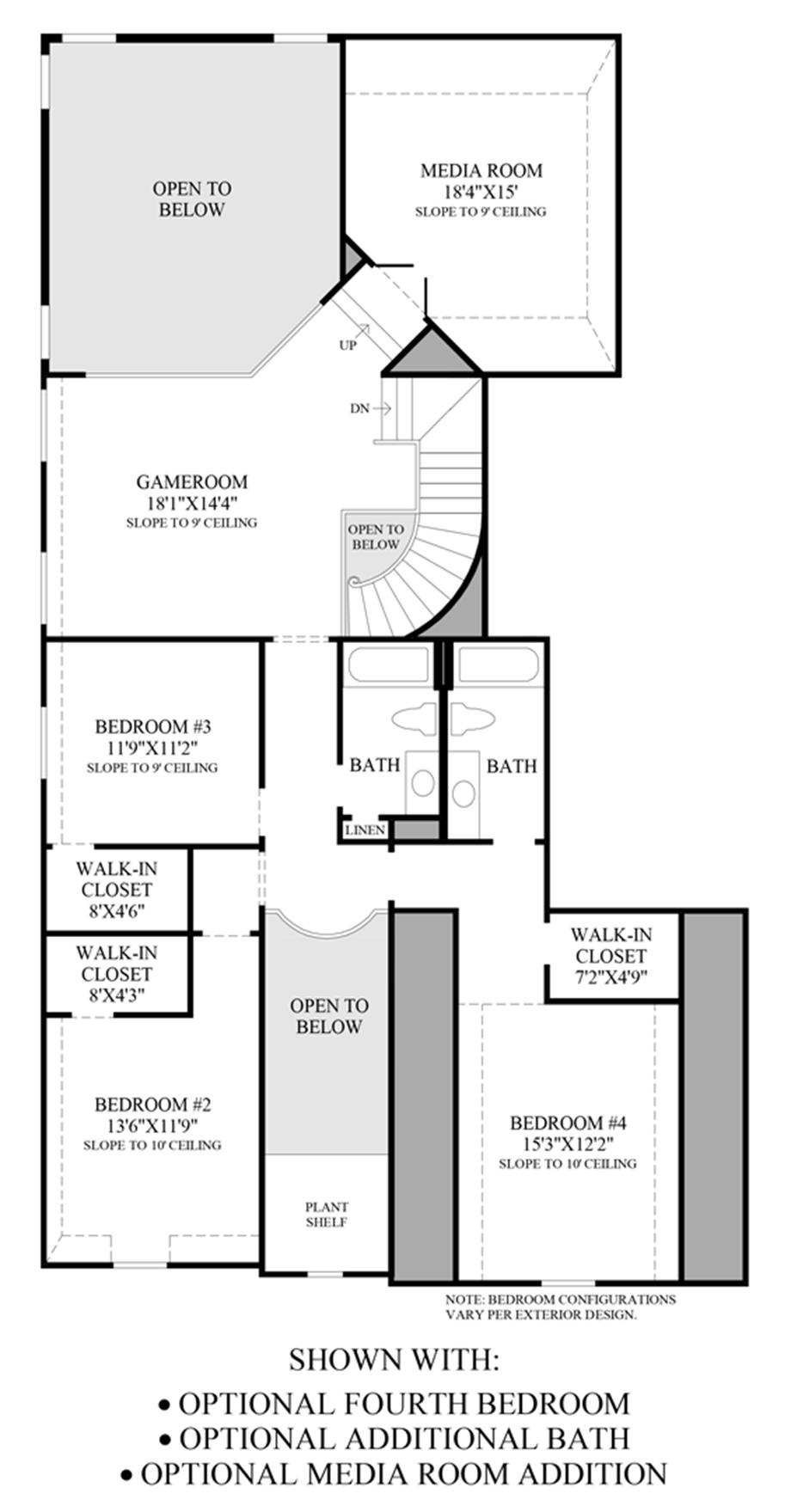 Optional 4th Bedroom/Additional Bath/Media Room Addition Floor Plan