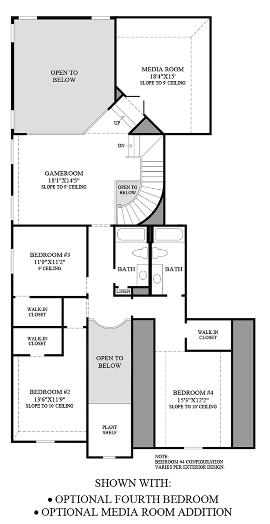 Optional Fourth Bedroom and Media Room Addition Floor Plan