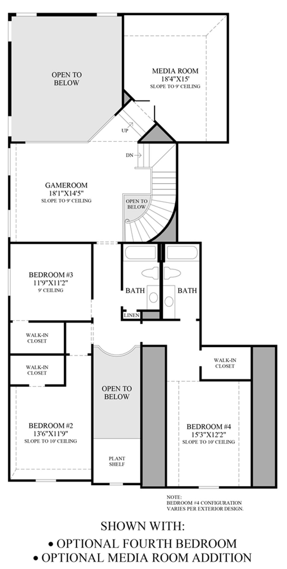 Optional 4th Bedroom & Media Room Addition Floor Plan