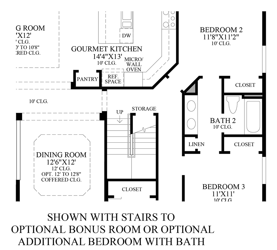 Stairs to Optional Bonus Room or Optional Additional Bedroom w/ Bath Floor Plan