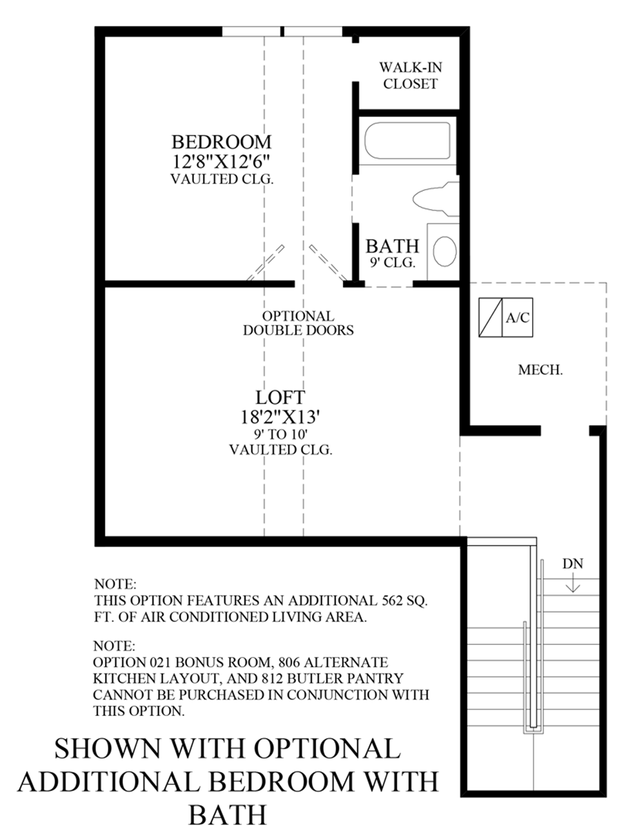 Optional Additional Bedroom w/ Bath Floor Plan