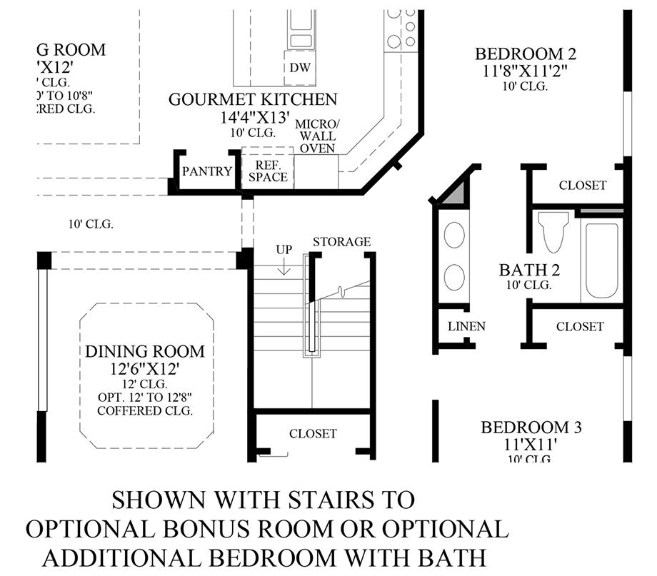 Stairs to Optional Bonus Room or Optional Additional Bedroom w/ Bath Floor Plan