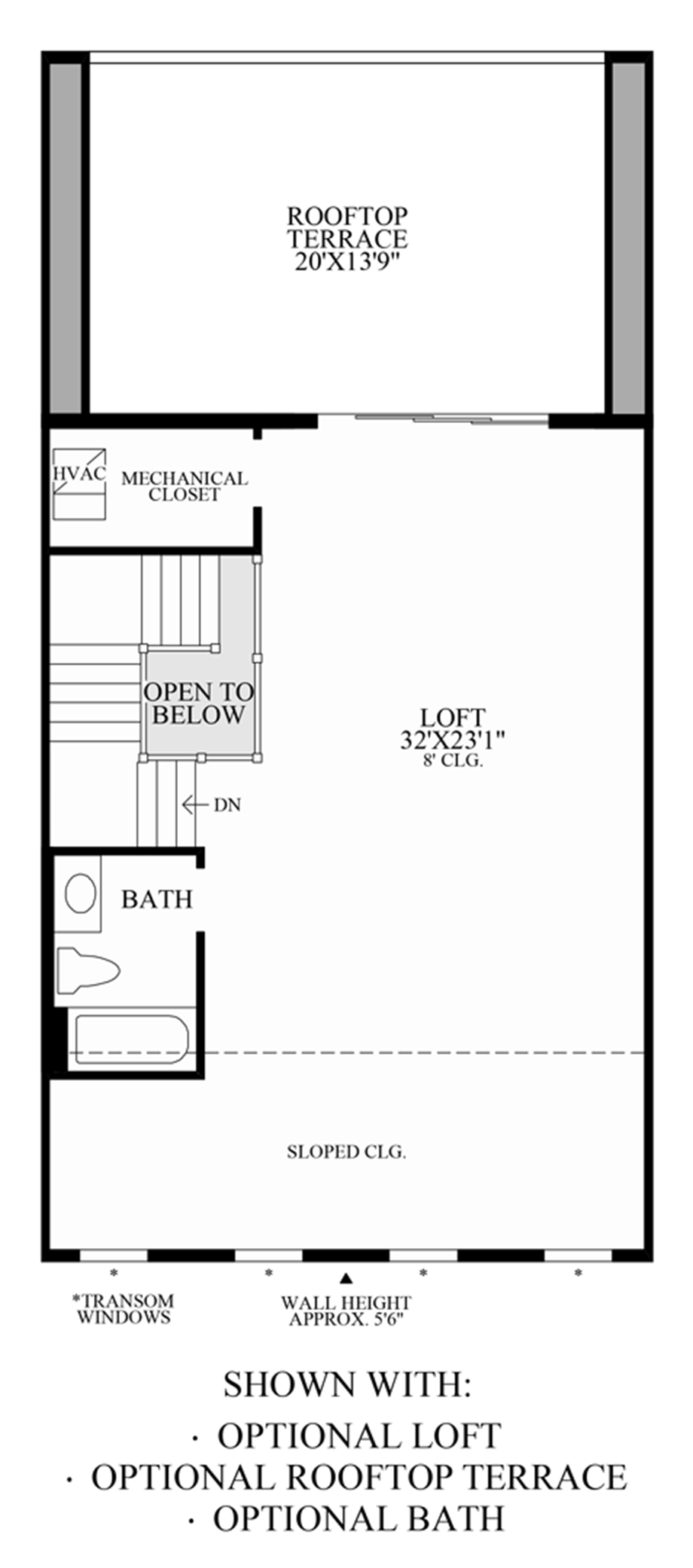 Optional Loft, Rooftop Terrace & Bath Floor Plan