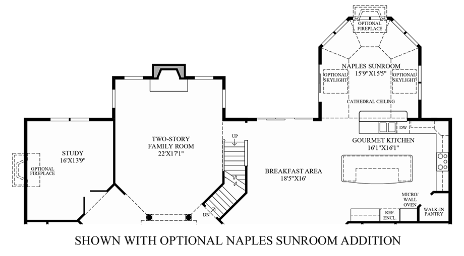 Optional Naples Sun Room Addition Floor Plan