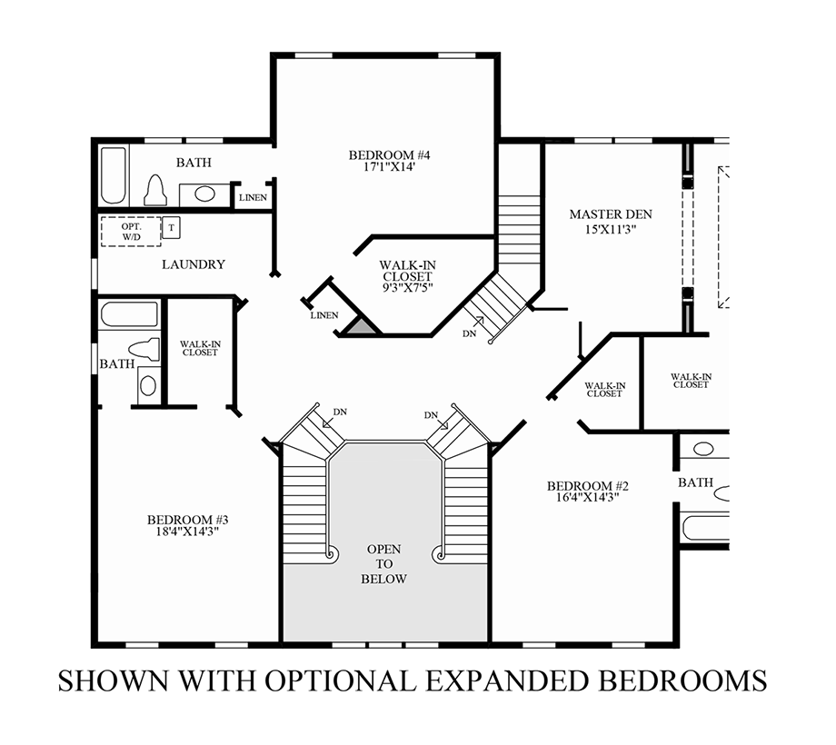 Optional Expanded Bedrooms Floor Plan