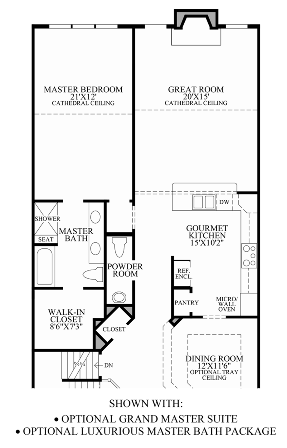 enclave at pleasantville the henderson home design optional grand master suite luxurious master bath package 1st floor floor plan