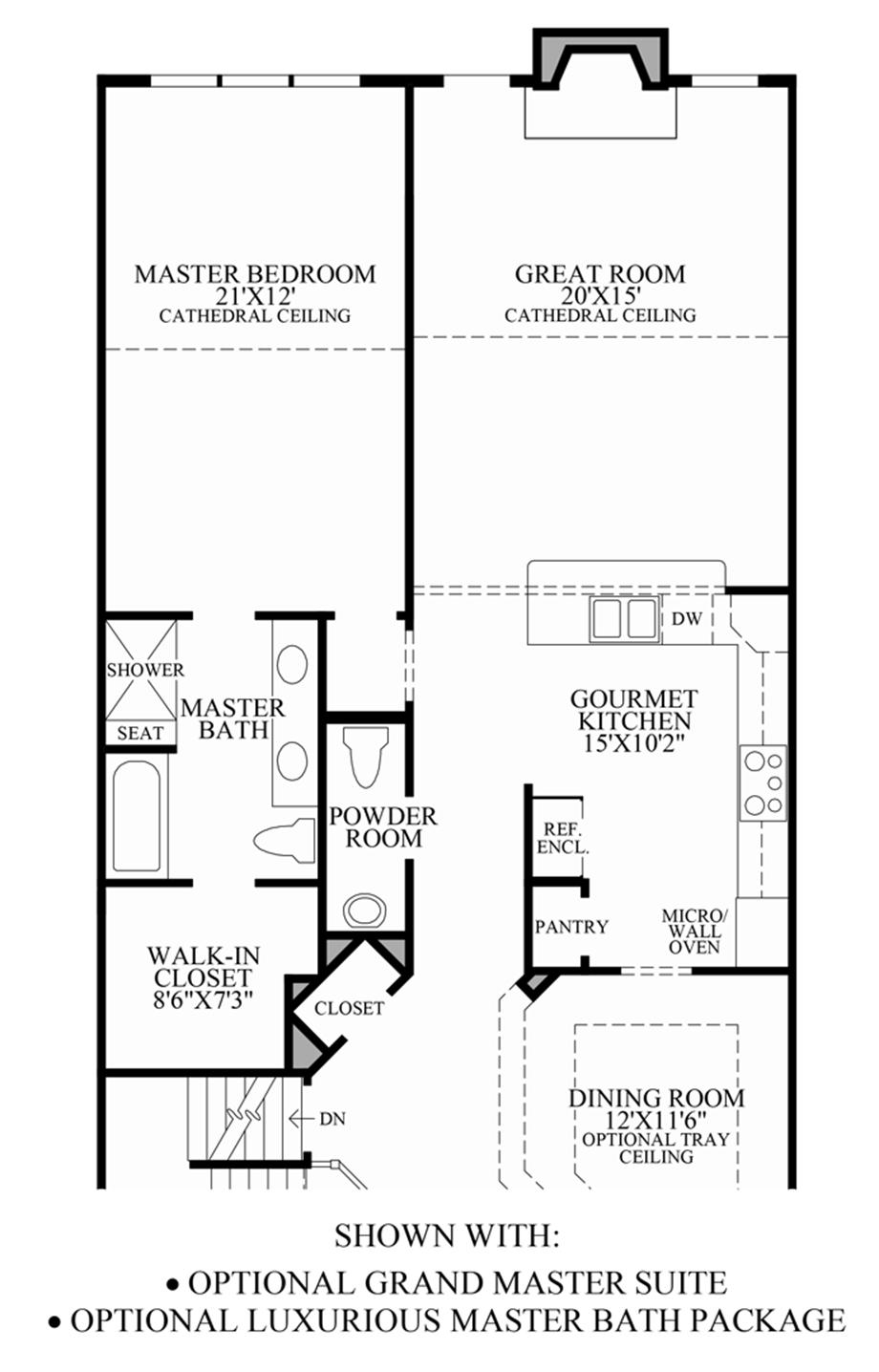 Optional Grand Master Suite/Luxurious Master Bath Package Floor Plan