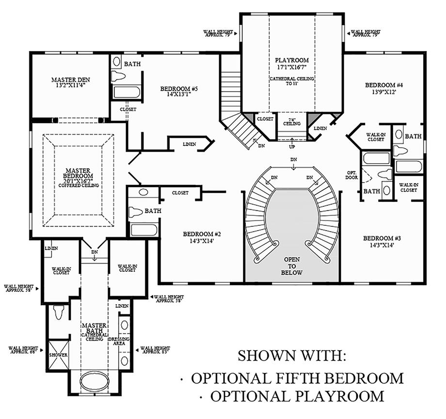 Optional 5th Bedroom & Optional Playroom Floor Plan